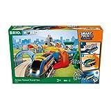 BRIO World 33972 Smart Tech Sound Action Tunnel Reisezug Set – Elektrischer Zug mit Schienen & Tunnel – Interaktives Spielzeug empfohlen ab 3 Jahren