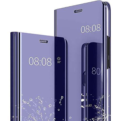 TOPOFU Sony Xperia 1 II Hülle,Transparent Flip Spiegel Schutzhülle Kratzfest Stoßfest Handyhülle mit Ständer Funktion Protective Hülle für Sony Xperia 1 II-Lila