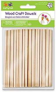 Multicraft Imports Krafty Kids 344861 CW536 Craftwood Natural Dowel, 0.13in by 4in, 100-Piece