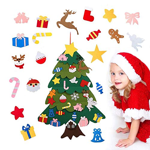 Anyingkai Albero Feltro Natale,Albero di Natale in Feltro con Addobbi,Albero di Natale in Feltro Fai da Te,Feltro Albero di Natale per Bambini