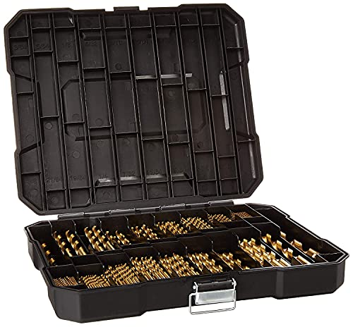 230 Pieces Titanium Twist Drill Bit Set, 135° Tip High Speed Steel, Size from 3/64' up to 1/2',...