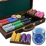 AMAIRS Set di Fiches da Poker, Fiches in Ceramica Numerate da 500 PC Scatola di Immagazzinaggio in Mogano Rimovibile Attrezzatura Professionale per Casinò Poker Texas Holdem