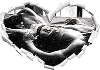 KAIASH 3Dウォールステッカーベッドアートの筋肉質の男3Dルックの壁またはドアステッカー壁ステッカー壁デカール壁装飾62x43cmの炭効果ハート形