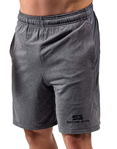 Satire Gym Loose Fit Shorts Herren - Kurze Sport Hose - Bekleidung geeignet für Fitness, Workout & Training, grau, L