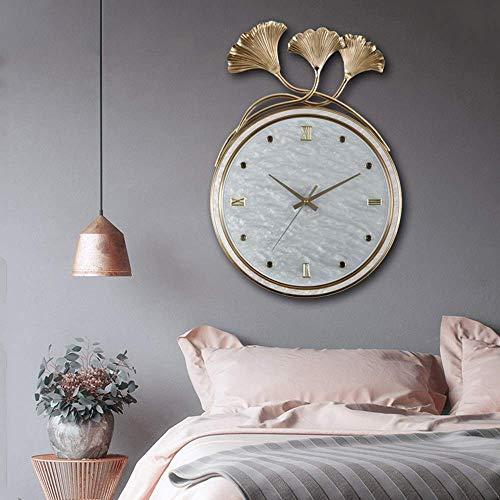 YH Uhren für Wohnzimmer Dekor Golden Home Europäische Uhr Mode Ginkgo Leaf Kreative Wanduhr Atmosphäre Reines Kupfer Wohnzimmer Wanduhr 37,5 * 55,5 (cm) Wanddekoration
