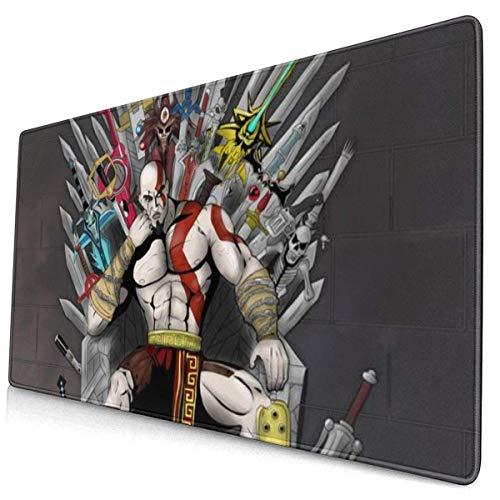 Alfombrilla de Ratón Grande God of War Siéntese en la Espada de la Silla Gaming Mouse Pad XXL Superficie Suave y Impermeable con Base de Goma Antideslizante 800X300X3 mm