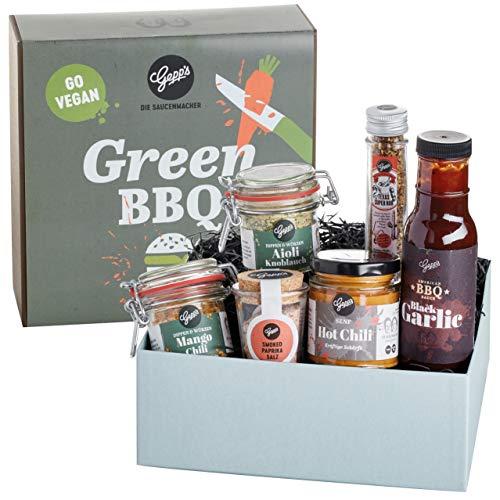 Gepp's Feinkost Vegan BBQ Geschenkbox I Vegan Grillen leicht gemacht mit edlen Gewürzen, Dips & raffinierten BBQ Saucen I Geschenk für Vegane Grillfans I Geschenkidee zum Geburtstag (A0011)