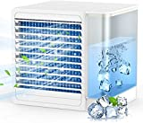 Portable Air Conditioner, Mini Air Conditioner for Small Room, Air Cooler with Night Light, Cooling Fan for Bedroom, Office and Barbecue (White)