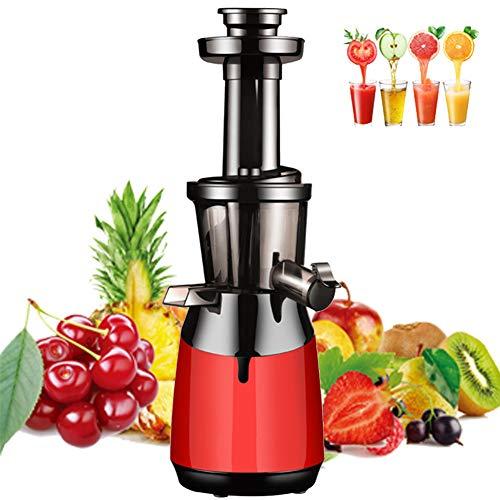 TTFGG Extractor De Zumo,Licuadora Prensado En Frio Licuadoras para Verduras Y Frutas,Máquina De Jugo,Slow Juicer,Función Inversa,Motor Silencioso,Rojo