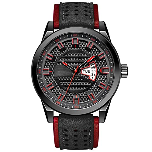 WNGJ Deportivo Relojes, Deportes Al Aire Libre Cuarzo Relojes, Reloj Multifuncional De Cuero Impermeable para Hombre, Reloj Deportivo De Moda Juvenil, Par Black