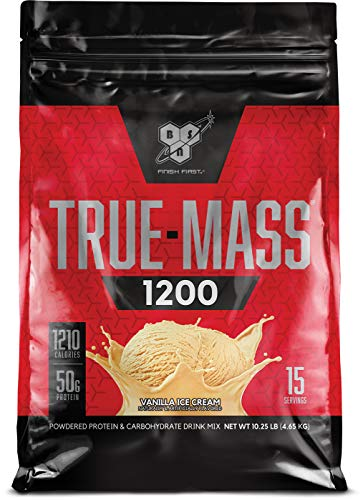 BSN TRUE-MASS Weight Gainer, Muscle Mass Gainer Protein Powder, Vanilla Ice Cream, 10.25 Pound