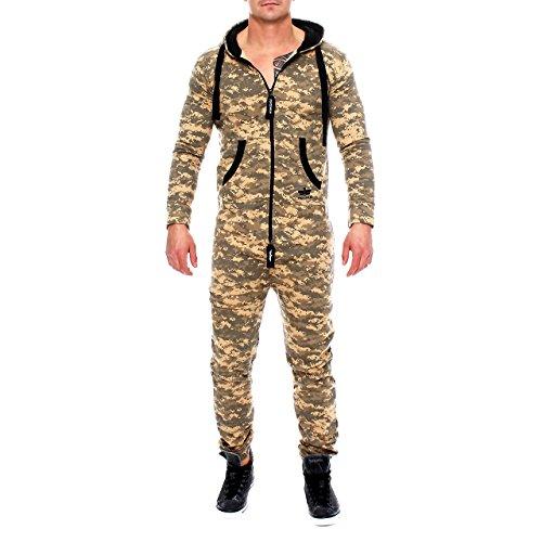 Finchman 85C4 Herren Camouflage Jumpsuit Jogger Jogging Anzug Beige S