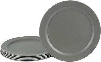 EcoSouLife Dinner Plate I Bambus Teller 25x1.8 cm I Umweltfreundliches Geschirr nachhaltig - ideales Kinder und Campinggeschirr I Praktische Zero Waste Produkte I Geschirr aus Bambus Anthrazit