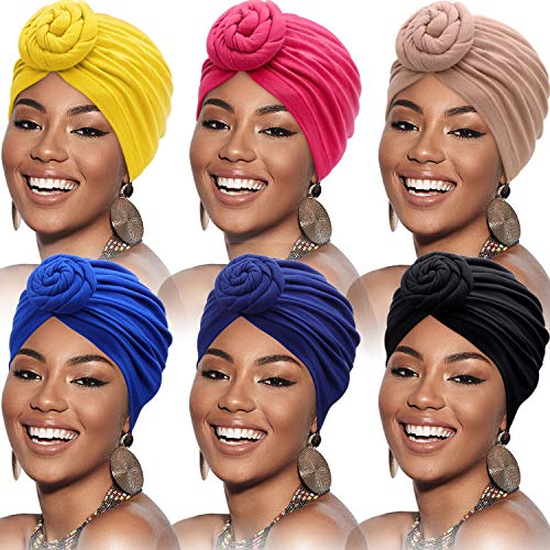 SATINIOR 6 Pieces Women African Turban Flower Knot Pre-Tied Bonnet Beanie Cap Headwrap (Black, Royal-Blue, Rosy, Camel, Navy, Yellow)