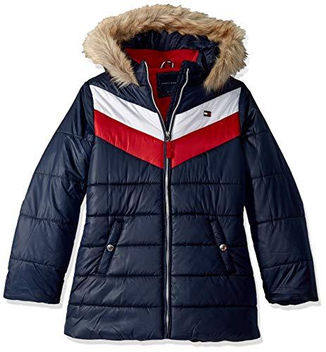 Tommy Hilfiger Little Girls' Long Length Puffer Jacket, Chevron Swim Navy, 4