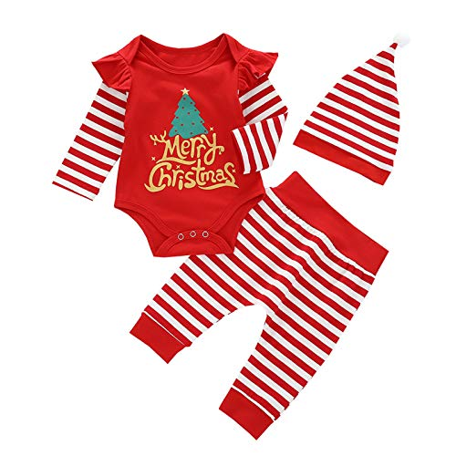 Newborn Baby Boy Girl Christmas Outfits Infant Letter Print Long Sleeve Romper+Striped Pants+Xmas Hat Clothes Set (Red-D,0-6 Months)