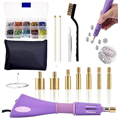 Hotfix applicatore Tool kit, Hot Fix strass applicatore bacchetta Setter include 7 punte di diverse dimensioni, pinzette, spazzola di pulizia, 2 matite e hot-fix strass