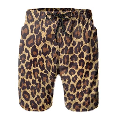 Shuwekk Mens Cool Cheetah Leopard Swim Trunks Quick Dry Beach Board Shorts Swimwear with Mesh Lining Size-XL