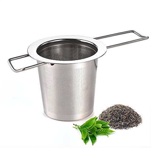 Infusor de té, té AUSTOR Infusor de acero inoxidable Colador de té Steeper filtro con mango plegable para hojas sueltas granos tazas de té, tazas, ollas y