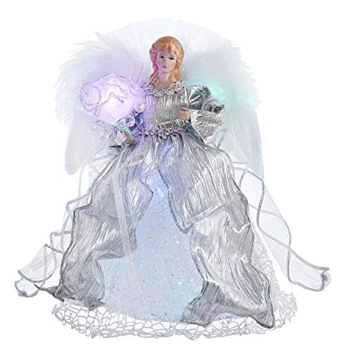 Kurt S. Adler Kurt Adler 12-Inch CUL Fiber Optic LED Silver Angel Treetop Tree Topper, multi