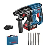 Bosch Professional GBH 18V-20 Martillo perforador, 1 batería x 4,0 Ah, 1,7 J, set de 6 accesorios, 18 V, en maletín, Edición Amazon, Multicolor (Reacondicionado)