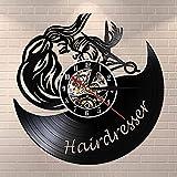 Barbershop Negro Vintage Vinilo Reloj de Pared Registro Barb