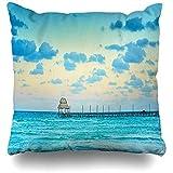 AmyNovelty Caribbean Blue Exotic Beach Paradise Viajes Turismo Vacaciones Naturaleza Cancún Parques Mujeres Fundas de Almohada Anchas y Premium para Viajes Largos Escapadas Cortas,45x45cm