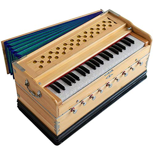 FASHERATI MUSICALS Harmonium 9 Stops, 3 1/2 Octave, Double Reed, Coupler, Natural Color, Standard, Padded Bag, A440 Tuned, Musical Instrument Indian Sangeeta