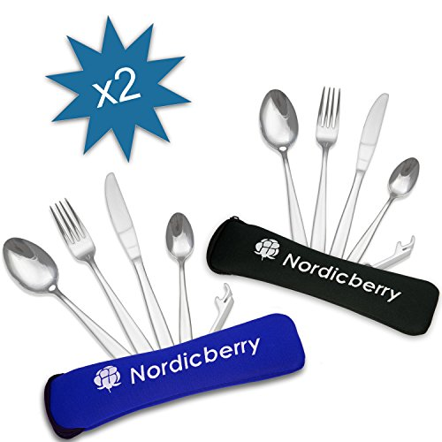 Couverts de voyage et de randonnée Nordicberry Premium Outdoor de qualité supérieure, en acier inoxydable avec étui en néoprène, CC-doublepack-2, Doppelpack II