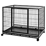 Amazon Basics Heavy Duty Stackable Pet Kennel on Wheels with Tray, 42-inch