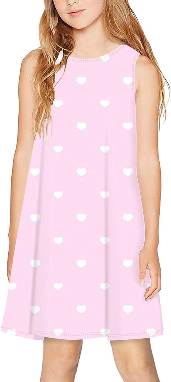 CAPINER 3D Print Girls Sleeveless Dress,Summer Pink Heart Casual Dress Crewneck