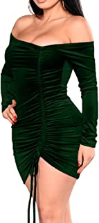 Womens Velvet Bodycon Ruched Sexy Off Shoulder Bodycon Mini Club Dress