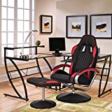 Geniqua Recliner Chair Racing Style Bucket Seat PU Leather Upholstery+Footrest Ottoman