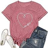 JINTING Thankful Shirt for Women Teen Girls Cute T Shirts Short Sleeve Letter