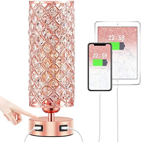 Touch USB Table Lamp Rose Gold Lamp 3 Way Dimmable with Crystal Lampshade Bedside Lamp with product image