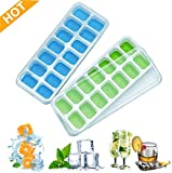 Silicone Ice Cube Tray, LFGB Certified BPA Free Moulds with Non-Spill Lid, Best for Freezer, Baby Food, Water, Whiskey, Cocktail and Other Drink (Blue A)