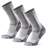 HIKING SOCKS メリノウール登山用靴下, ハイキング, トレッキング、アウトドア, 男女兼用(3ペアセット or 1ペア) (ライトグレー3ペア, 25.0cm - 28.0cm)