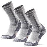 Merino Wool Hiking & Walking Socks 3 pack (Light Grey, US Women 5-7 // US Men 3.5-6)