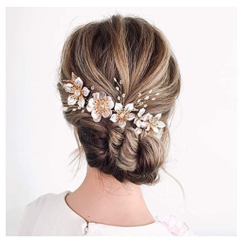 SWEETV Blume Hochzeit Kopfschmuck handgefertigt Braut Haarteile mit Kristall Gold Stirnband Haarschmuck