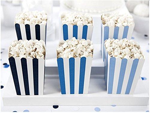 Partydeco Boîtes à Popcorn, boîtes à Bonbons, Blanc/Bleu et Bleu
