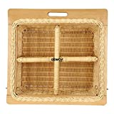 AKWAY Wooden wicker basket with four center partition (Size: 22.5 W x 20 L x 8 H Inches Including...