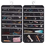 DIOMMELL Hanging Jewelry Organizer 47 Pockets with Zipper for Earrings Necklace Bracelet Ring Accessory Display Storage Bag Travel Holder Box