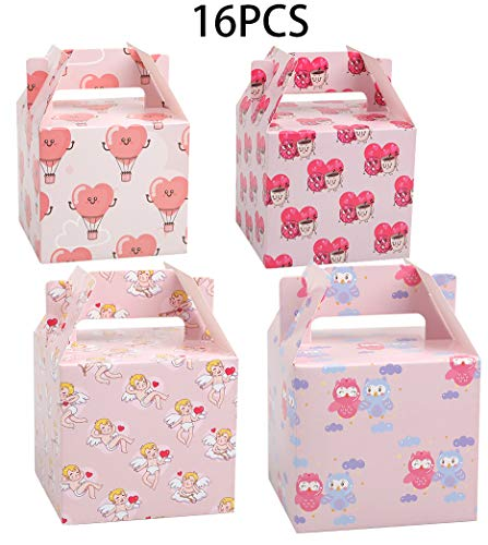 Buy Discount Valentine's Day Treat Boxes - Hearts Goody Bag Cookie Holder Classroom Party Supplies...