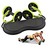 Generic Fitness Double Wheels Ab Roller Abdominal Trainer With Resistance Band Pull Rope Waist Wheel Slimming Exerciser Home Equipment