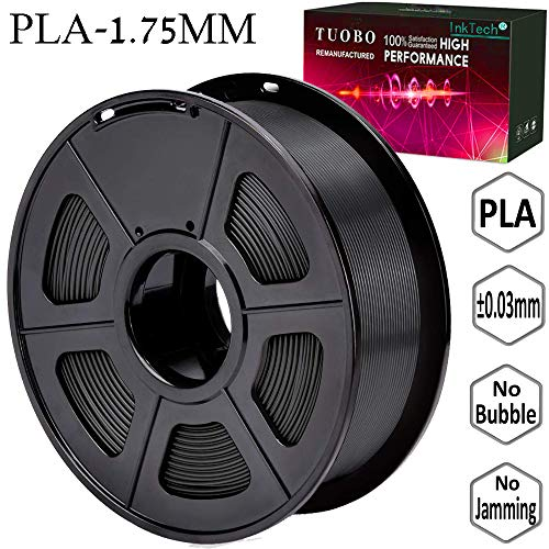 Tuobo PLA Filament 1.75mm Black 3D Printer Consumables, 1kg Spool (2.2lbs), Dimensional Accuracy +/- 0.05 mm, Fit for Most DIY Printer and 3D Pen