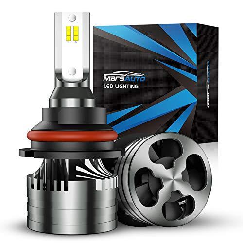Marsauto 9007/HB5 LED Bulbs,16000LM Brightness 6000K Xenon White, Aluminum Alloy M2 Series LED Light Bulb Kit with 12000RPM Turbo Fan