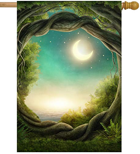 "ShineSnow Magic Tree Forest in The Moonlight Fantastic Fairy Tales Moon House Flag 28"" x 40"" Double Sided, Polyester Welcome Yard Garden Flag Banners for Patio Lawn Outdoor Home Decor"