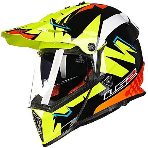 ZHXH Casco integral de moto Casco integral de Cross Country/dot/Scooter de hombre Cross Country Casco integral de cuatro ruedas con doble espejo solar/gafas