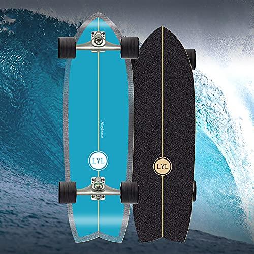 VOMI Pumpping Surfskate Board Skateboard Komplette Waveboard Kinder Ab 10 Jahre, 31'' Holz Cruiser Kickboard 7 Lagigem Ahornholzdeck Longboard Jungen Professional, C4 Truck ABEC-11 Kugellager