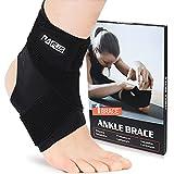 PAPLUS Tobillera para hombres y mujeres, tobillera con tobillera, correa ajustable para esguinces, voleibol, deportes, negro, soltero, pequeño